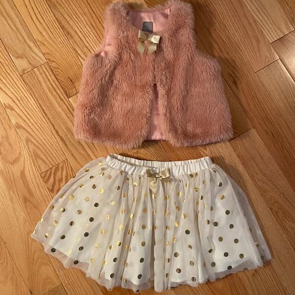 Tahari Fur Vest and Skirt Set